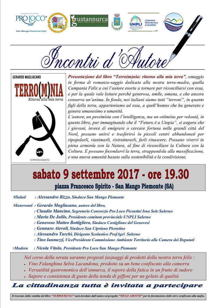 """Incontri d'autore sabato 9 settembre a San Mango Piemonte con la presentazione del libro """"Terro(m)nia: ritorno alla mia terra""""."""
